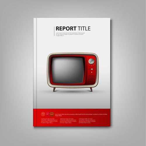 Brochures book red retro television template vectors