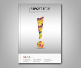 Brochures book with colored exclamation template vectors