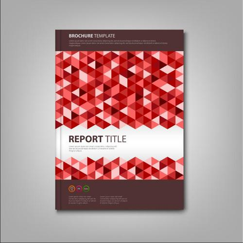 Brochures book with red triangles template vectors