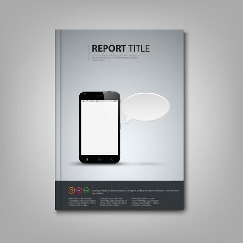 Brochures book with smart phone template vectors