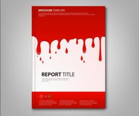 Brochures book with spilled red color template vectors