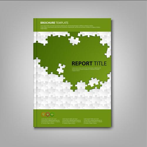 Brochures book with white puzzle green template vectors