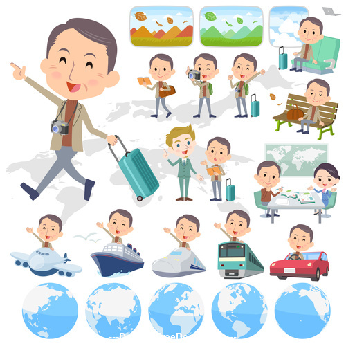 Brown high neck Middle aged man travel vector