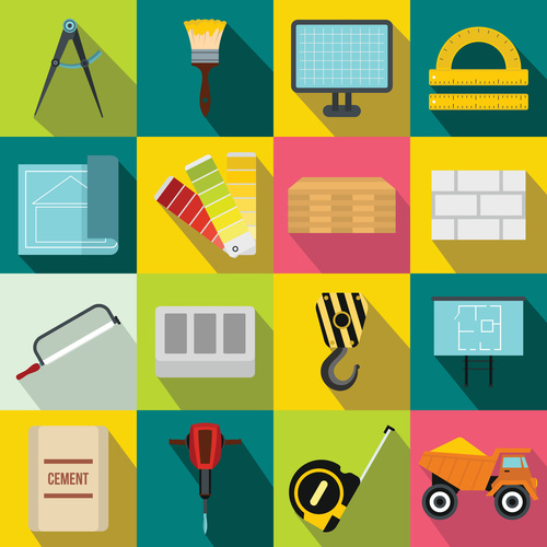 Building tools flat style icons vector