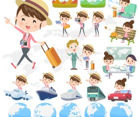 Bun hair mom travel vector
