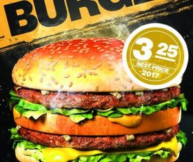 Burger sale flyer PSD template design