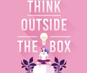 Business woman think outside the box concept vectors
