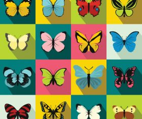 Butterfly icons flat style vector