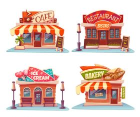 Cafe restaurant pizzeria and bakery vector