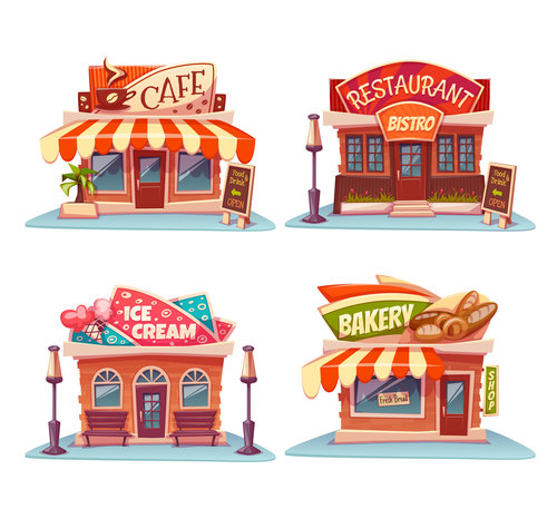 Cafe restaurant pizzeria and bakery vector