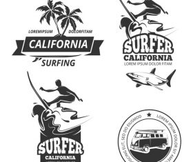 California summer travel label vector