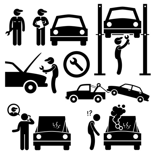 Car repair cartoon icon vector