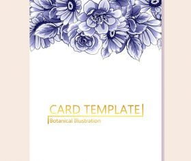 Card template with flower botanical illustration vector 03
