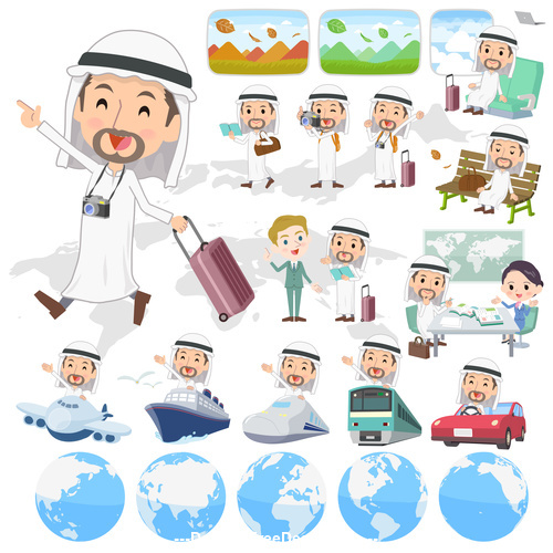 Cartoon Arab man travel vector
