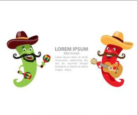 Cartoon Chili Character Playing guitar and maracas vector