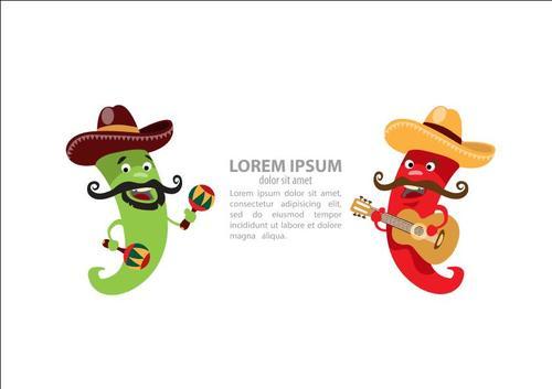 Cartoon Chili Character Playing guitar and maracas vector