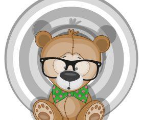 Cartoon Hipster Bear vector