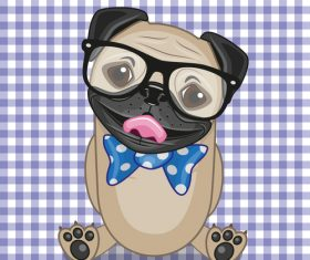 Cartoon Hipster Dog vector