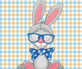 Cartoon Hipster Rabbit vector