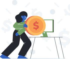 Cartoon Money and Computer Illustrations vectors