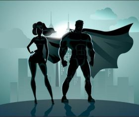Cartoon Superhero silhouette vector