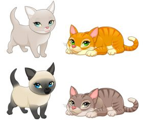 Cartoon animal Cats vectors