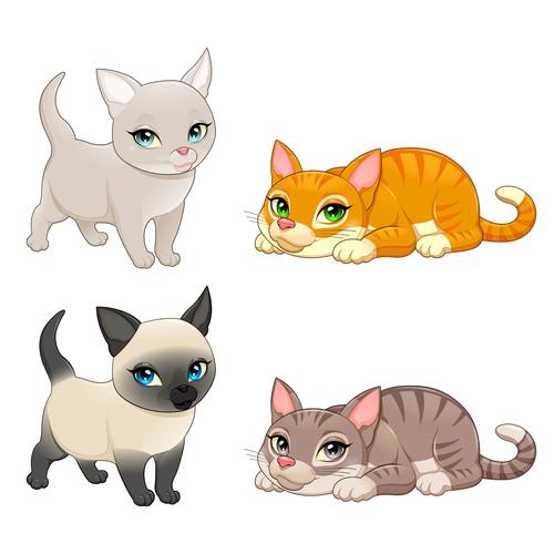 Cartoon animal Cats vectors