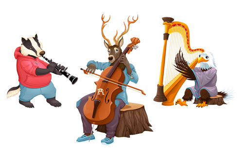 Cartoon animal Musicians vectors