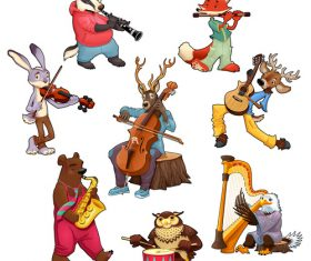 Cartoon animal playing musical instrument vectors