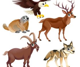 Cartoon animal wolf goat etc vectors
