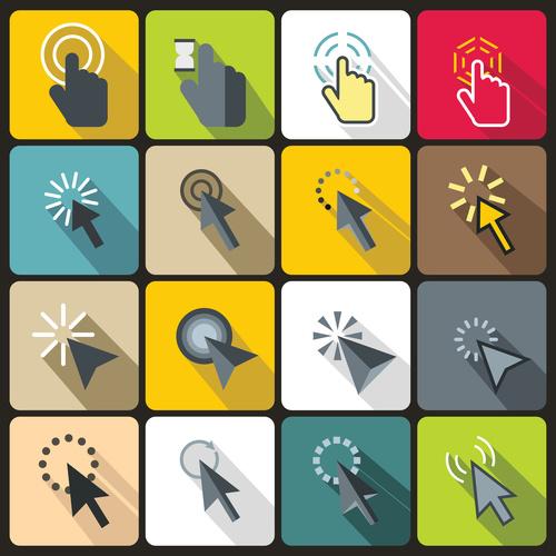 Cartoon arrow icons flat style vector