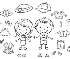 Cartoon black and white sketch kids summer clothes vector