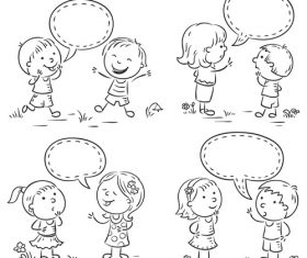 Cartoon black and white sketch kids talking vector