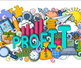 Cartoon business background illustration