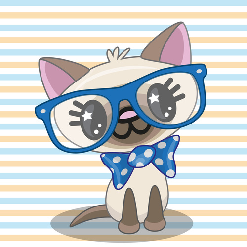 Cartoon cat with glasses vector