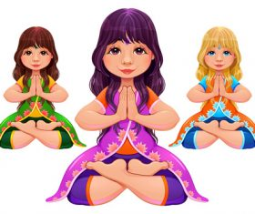 Cartoon character Lotus Position vectors