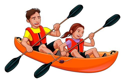 Cartoon character and Kayak vectors free download