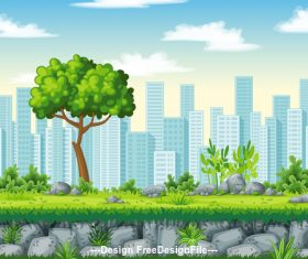 Cartoon city tall building and tree vector