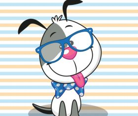 Cartoon cute dog with glasses vector