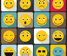 Cartoon emoticon pack icons flat style vector