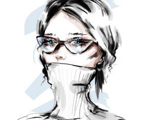 Cartoon fashion girl illustration vectors