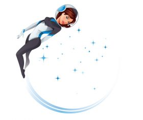 Cartoon female astronaut vectors