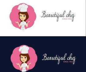 Cartoon female chef banner design vectors
