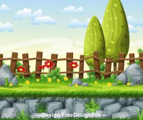 Cartoon fence and red flowers green tree vector