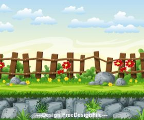 Cartoon fence and red flowers vector