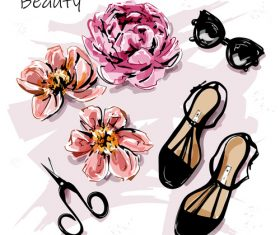 Cartoon flower and girl shoes illustration vectors