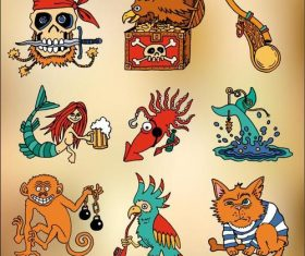 Cartoon funny pirate elements vector
