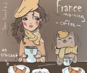Cartoon girl drinking coffee and eating croissant vector