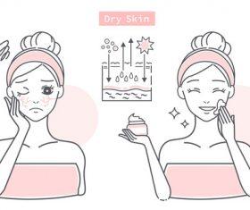 Cartoon girl dry skin care vector