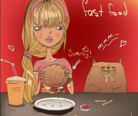 Cartoon girl eating fast food vector
